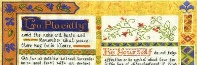 Desiderata Cross Stitch Chart Lifetime Samplers Cross Stitch Kits Charts Decorative Textiles