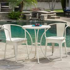 White metal patio chairs Exterior Table Amazoncom Great Deal Furniture Castro Outdoor 3piece Offwhite Cast Bistro Set Garden Outdoor Amazoncom Amazoncom Great Deal Furniture Castro Outdoor 3piece Offwhite