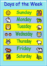 Week Days Chart Days Of The Week Chart Happy Kids And Moms