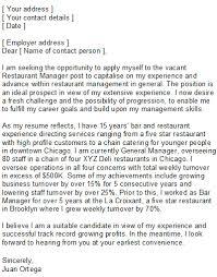 Cover Letter Restaurant Example Cover Letter For Resume Restaurant Manager Resume Format Samples