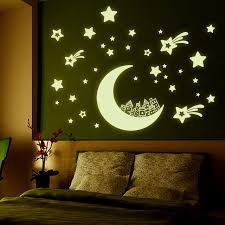 Home Decoration Accessories Wall Art Urijk 100PC Luminous Moon Wall Stickers Home Decoration Accessories 47