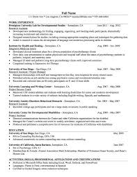 Resume Example For Psychologist