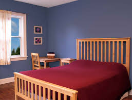 Divine Pine Wooden Rail Bed Frame With Red Mattress Also Blue Wall Polished Best  Bedroom Colors Also Corner Desk And Chair In Small Space Simple Bedroom ...