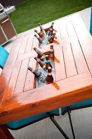 diy outdoor table with cooler. DIY Wood Patio Table W/Built In Beer/Wine Cooler. Would Also Be Diy Outdoor With Cooler