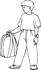Small Picture printable outline of a boy holding his backpack Coloring Point