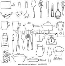 kitchen utensils doodle vector set this stock vector on shutterstock find other images