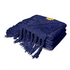 Navy Blue Chenille Throw Blanket