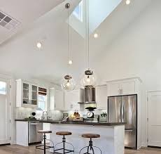 images of kitchen lighting. White Kitchen With Vaulted Ceiling And Glass Hanging Lights Images Of Lighting