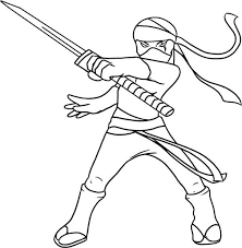 Small Picture Kid Drawing of a Ninja Coloring Page Download Print Online