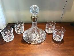 vintage crystal bar set ships decanter w 4 old fashioned glasses glass marquis by waterford brookside