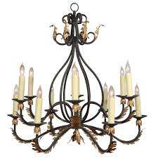 wrought iron ninelight iron chandelier with gold leaf acanthus design for sale gold leaf chandelier n73