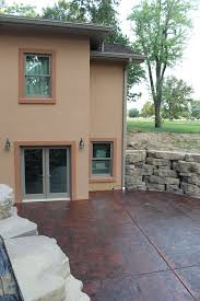stamped concrete patio and retaining wall