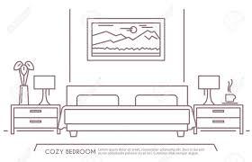 家と快適な家具の概要とホテル寝室のインテリアをベクトル イラスト