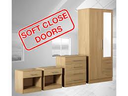 image great mirrored bedroom furniture. Zilato 4 Piece Mirrored Bedroom Furniture Set - Wardrobe Drawer Chest Bedside Oak Image Great