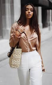 Stylish white pants ideas for ladies White Outfits Stylishlooksilkblouseplusstrawbagpluswhitepants Fashion Outfit Ideas Stylishlooksilkblouseplusstrawbagpluswhitepants Fashion