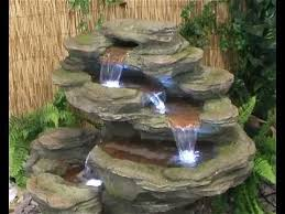 Great Cascading Water Feature Solar Powered Autumn Copper Cascade Solar Water Features With Lights
