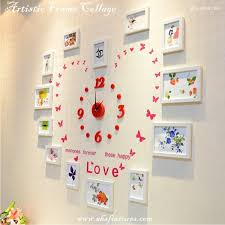 menories forever these happy love white artistic wooden frame picture collage with red diy wall clock creative living décor set