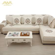 sectional sofa covers. 1-Piece Embroidered Slipcovers Sofa Covers Non-slip Cotton Quilted Corner Sectional Couch A