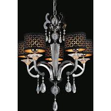 cwi lighting hypnotic 5 light pearl black chandelier with black shade 2028p25pb 5 the home depot