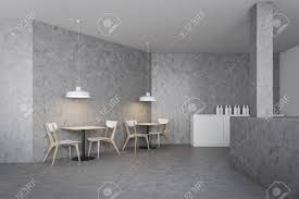 Minimalistic Industrial Style Bar Interior With Concrete Walls