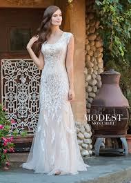 modest bridal by mon cheri tr11837 fit and flare wedding gown