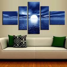 5 pieces landscape canvas painting blue sea buddha large canvas paintings se5003