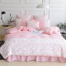 cotton princess pink bed set grey lace ruffle flower bedding sets king queen size green blue camel duvet cover bedsheet pillowcase sets queen bedding