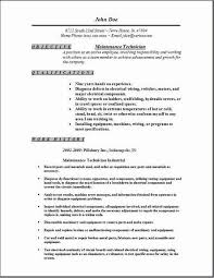 Maintenance Resume Template Maintenance Technician Resume  Occupationalexamples Samples Free Template