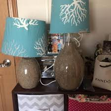 beach theme lighting. 2 Beach Theme Lamps Fill With Sand, Shades Can Be Changed Lighting