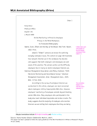 Annotated Bibliography Example A Website Format Websites Mla Pin By