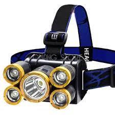 Đèn Pin Đội Đầu Đeo Trán 5 Bóng T6 Siêu Sáng Kèm Pin Sạc Siêu Tiện Lợi - Đèn  pin Hãng OEM