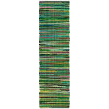 rag rug green multi 2 ft 3 in x 12 ft runner