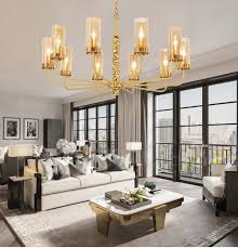 modern contemporary 10 light brass chandelier with glass shade for bathroom living room