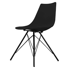 Fusion Living Iconic Black Plastic Dining Chair With Black Metal Legs