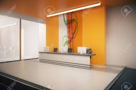 office lobby designs. Side View Of Orange Office Lobby Interior With Windows, Reception Desk Computer Monitors And Designs