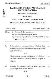 philosophy of religion social work philosophy philosophy of religion 2012 social work philosophy bachelor university exam indira gandhi national open university ignou shaalaa com