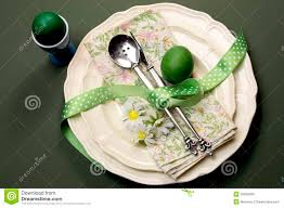 Table Setting For Breakfast Green Theme Happy Easter Dinner Or Breakfast Table Setting Stock