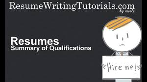 How To Write Summary Of Qualifications On Resume Youtube