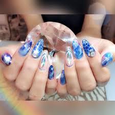 お客様nail Pink Blue 親指 埋め尽くし Nail Cute