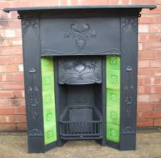 original antique art nouveau fireplace with tiles ref cf16