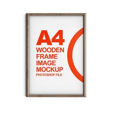 premium psd wooden frame image mockup