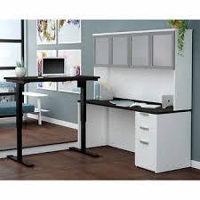 stunning natural brown wooden diy corner desk. Bestar Pro-Concept Plus White L-Shape Workstation With Height Adjustable Table Stunning Natural Brown Wooden Diy Corner Desk W
