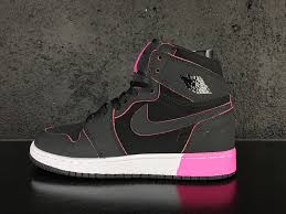 jordan shoes for girls black and pink. 2017 air jordan 1 high gs black pink white girls size for sale-4 shoes and /