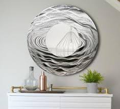 silver metal wall art large round mirror home decor metallic accent by jon allen
