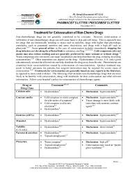 Extravasation Treatment Chart Treatment For Extravasation Of Non Chemo Drugs