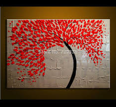 hand made oil painting on canvas palette knife red tree flowers painting modern decoration painting canvas