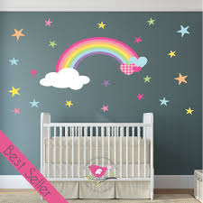 magical rainbow heart stars nursery wall sticker on wall art stickers nursery uk with magical nursery rainbow wall sticker
