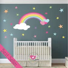 magical rainbow heart stars nursery wall sticker