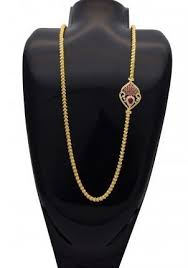gold plated aiswarya chain with ruby