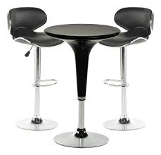 displays2go 3 piece pub table set 24 inch round table with 2 faux leather chairs height adjule com